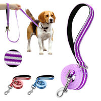 Nylon Reflective Dog Leads Soft Padded Handle Walking Leash for Small Large Dogs
