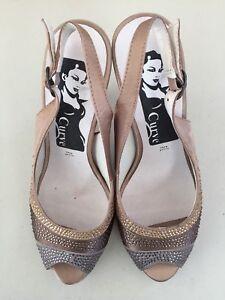 Women High Heel Formal Wedding Party Open Toe Shoe Beige Brown Grey Size 37 AU 7