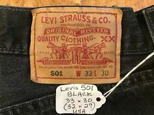 LEVIS 501 33x30 (32x29) BLACK Button-Fly Jeans Vintage USA Faded to Dark Gray