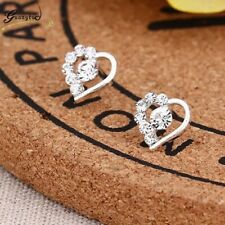 Women's girls  Sweet Heart Small Diamonds Silver Stud dangle drop Earrings