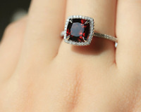 2ct Cushion Cut Red Garnet Engagement Ring 14k White Gold Finish Halo Solitaire