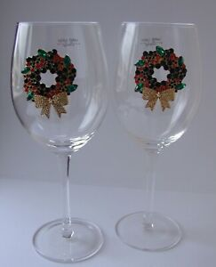 A Pair of Wine Glasses with Sparkly Christmas Wreath  Decoration