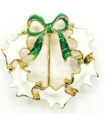 Enamel White, Green Wreath Round Brooch, Goldtone Vintage Pin Signed