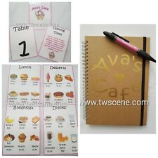 Childs play cafe menu table number opening times notebook pen laminated