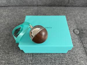 "Tiffany & Co Silver 5"" Round WALNUT Wood BALL Ornament NEW IN BOX + Pouch"