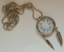 Dreamcatcher Necklace Pendant - Blue Stones and Metal Feathers - Valentines