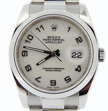 Rolex Datejust Mens Stainless Steel SS Watch White Anniversary New Style 116200