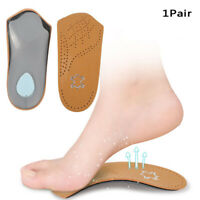 1Pair 3/4 Length Leather Orthotic Heels Arch Support Pads Half Orthopedic Insole