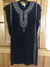 CALYPSO ST BARTH 100% Silk Black Tunic W/ Gold Sequins Cap Sleeve (S) Small