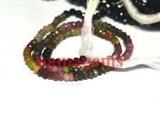 "natural multi tourmaline stone 3-4 mm rondelle faceted loose beads 13"" strand"
