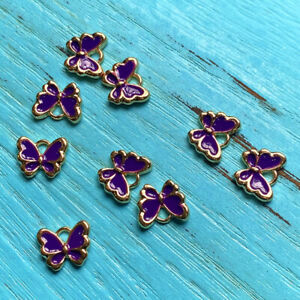 6pcs 10x13mm Drop Oil purple butterfly charms Gold Tone Making Jewelry