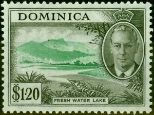 Dominica 1951 $1.20 Emerald & Black SG133a C of A Missing from Wmk Fine LMM S...