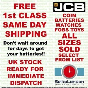 JCB Alkaline, Silver Oxide, & Lithium ALL SIZES OF WATCH COIN BATTERIES - FAST!!