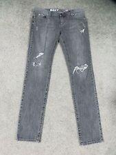 Roxy Faded Black Stretch Denim Skinny Jeans w/Frayed & Silver Rivet Design, 13