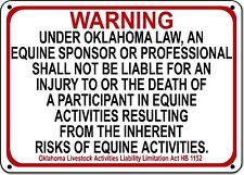 OKLAHOMA Equine Sign activity liability warning statute horse farm barn stable