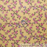 BonEful FABRIC FQ Cotton Quilt Yellow PInk Blue White Green S Leaf Flower Calico