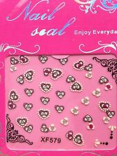 Nail Art 3D Decals/Stickers Black White & Silver Hearts & Flowers #28