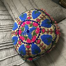 Hand Embroidered Suzani Round Pillow cover. Tribal Pillow Cover. .