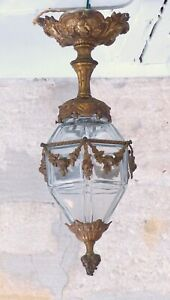 "18"" Antique Baccarat French Hall Lantern 19TH Chandelier Ceiling Gilded Bronze"