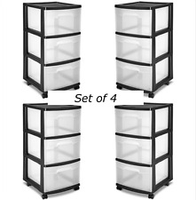 3 Drawer Rolling Organizer Storage Cart Bin Container Set Of 4 Plastic Black