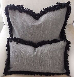 NEW Textured MID GREY Oblong or Large Sq Cushion Covers & Black Chenille fringe