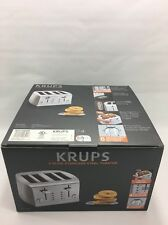 KRUPS Toaster KH734D50 4 Slice Kitchen Brushed and Chrome Stainless Steel Silver