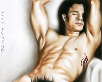 Print Of Male Oil Painting - Taking A Rest Man Pin Up Art Drawing Artist Andreev