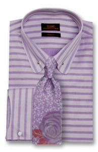 Dress Shirt Only by SL Trim&Classic Fit Curved French Cuff-Purple-TA1721-PU