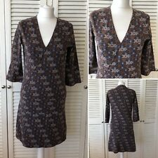 9018f995ee White Stuff Brown Floral V-Neck A-Line Tunic Dress Size 12