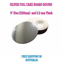 """Silver Round Foil Cake Boards Base 9"""" or  228mm - 2.2mm Thick - Free Postage"""