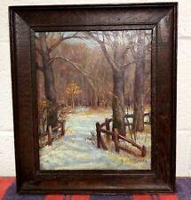 Nice Old 1948 Winter Landscape Oil Painting Lisle Illinois Joseph Van Bladel