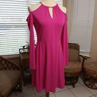 NEW! Michael Kors Pink Cold Shoulder Dress Size M    $125