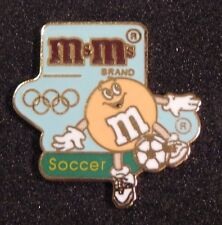 Vintage M&M's M&M Olympics Soccer candy advertising pin FREE SHIPPING