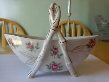 RARE FOOTED MAKER STAMPED CANDY DISH WITH CENTER TWISTED HANDLE