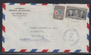 HONDURAS Commercial Cover San Pedro Sula to New York City 27-6-1950 Cancel