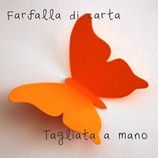 10 Farfalle 3D Arancione Scuro di carta lavorate a mano 10x7,3 cm