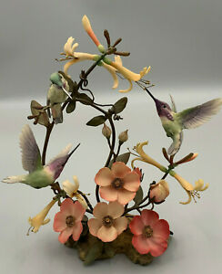 """Franklin Mint House of Faberge """"Beauty in Bloom"""" Hummingbirds Sculpture."""
