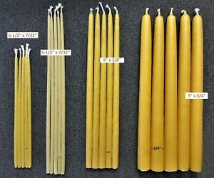 Pure YELLOW BEESWAX Taper CANDLES 100% cotton wicks, Smokeless, drip-less, USA