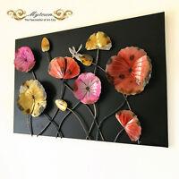 Metal Framed Wall Sculpture Lotus Dragonfly Flower Indoor Home Art Decoration