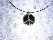 NEW ROUND PEACE SIGN SYMBOL w BLACK INLAY PEWTER PENDANT ADJ CORD NECKLACE
