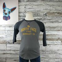 The North Face Mens Raglan Baseball Graphic Shirt Gray Orange Logo Classic Sz Sm