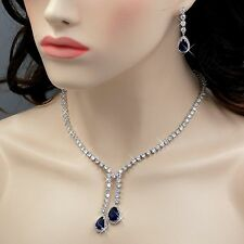 18K White Gold GP Sapphire Zirconia CZ Necklace Earrings Wedding Jewelry Set 870
