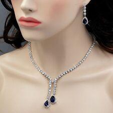 18K White Gold GP Sapphire Zirconia CZ Necklace Earrings Wedding Jewelry Set 870