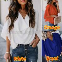 ZANZEA Women Long Shirt Tops Short Sleeve Loose Blouse Tee T-Shirt Solid Baggy