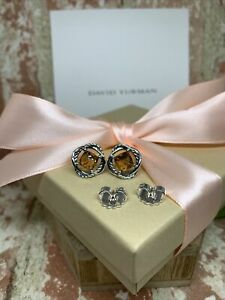 David Yurman Sterling Silver 925 Infinity Earrings with Citrine