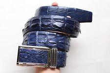 No Jointed  W 4.0 cm - Blue Genuine CROCODILE Leather Skin MEN'S Belt #267