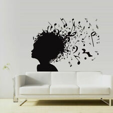 Wall Vinyl Sticker Music Girl Notes Head Audio Mind Smart Composer (Z3018)