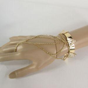 Women Gold Metal Pyramid White Hand Chain Thin Fashion Bracelet Cuff Slave Ring