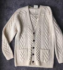 Gaeltarra Unisex Irish Wool Cable Knit Fisherman Cardigan Sweater 44 112cm M/L