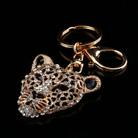 Leopard Head Keyring Key Chains Key Split Rings Chain Loop Alloy Rhinestone Gift